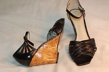 Nicole Miller New York Black Leather Wedges Ankle Strap Shoes Size 7 B