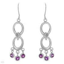 STUNNING SOLID 14K WHITE GOLD GENUINE AMETHYST HOOK / CHANDELIER EARRINGS