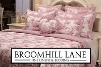 New Luxury 100% Cotton Pink White Toile French Vintage Bedspread Set Duvet Cover
