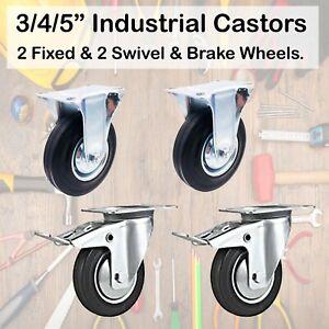 """3/4/5"""" (75/100/125mm) 2 Fixed Caster Wheel & 2 Swivel & Brake Rubber Castor"""