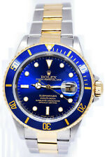 Rolex Submariner 18k Gold & Steel Mens 40mm Automatic Dive Watch T 16613