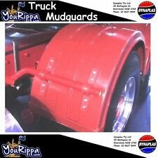 RED RIBBED PLASTIC TRUCK DUAL WHEEL MUDGUARD SUIT SEMI TRAILER KENWORTH MACK MAN