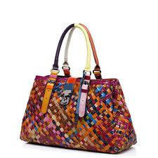 Women's Fashion Braided Handbag Purse Genuine Leather Totes Shoulder Bag
