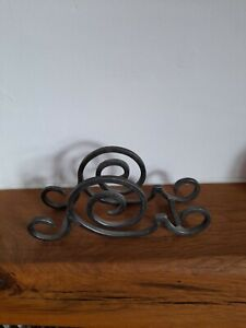 """Vintage Wrought Iron Scroll Letter Rack 9 x 4 """" Black."""