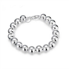 "8"" Mens Womens 925 Sterling Silver 10mm Beads Ball Link Chain Bracelet #BR293"