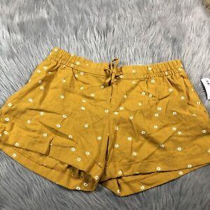 Old Navy Womens Golden Yellow Floral Linen Drawstring Waist Shorts