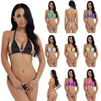 Bademode Wetlook Metallic Damen Sexy Babydoll Dessous Bikini Set Badebekleidung