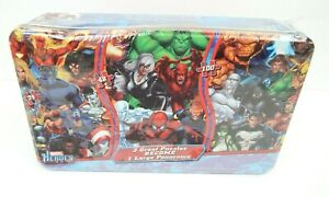 Marvel Heroes 3 Great Puzzles To 1 Large Panorama Sealed Tin Bin Shrink Wrapped