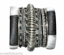Chamak Clear Crystals Set of 15 Grey & Silver & Black Bangle Bracelets