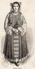 PAYSANNE VALAQUE ROUMAINE WOMAN ROUMANIE ROMANIA IMAGE 1866 OLD PRINT