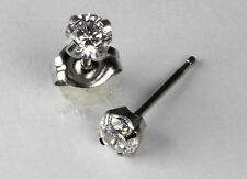 Studex Sensitive Stainless Steel 4mm Clear Cubic Zirconia CZ Stud Earrings