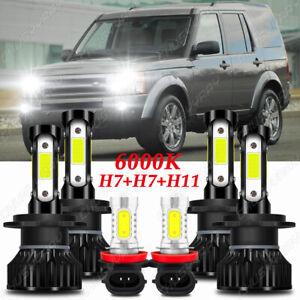 For Land Rover LR3 2005-2009 6000K LED Headlight High&Low + Fog Light Bulbs Kit