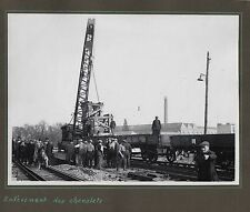 PHOTO Train Chemins de Fer Élargissement du Pont Clos-Montholon 1935 Rails