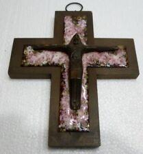Bello CROCIFISSO Antico Christ in legno Croce Smalti Posta elettronica