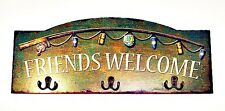 New Country Cabin Rustic Lodge Welcome Friends Fishing Camp Tin Wall Sign Hooks