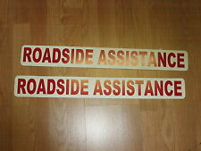 "RED 2 ROADSIDE ASSISTANCE Magnetic Signs 3""x24"" 1 Pair 4 Car Truck SUV Van"