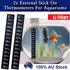 2 x Aquarium Thermometer Sticker Temperature Strip Dual Scale External Stick On