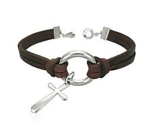 Dangle Cross Charm Religious Brown Leather Wristband Clasp Bracelet