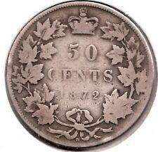 1872- Canada - 50 Cent Piece - Sterling Silver - Queen Victoria - Superfleas