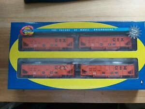 Athearn HO Gauge 76418 CSX 40' Outside Braced Hoppers 4 Pack With Ballast Loads