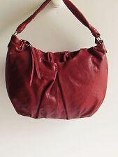 "AVA ROSE ""LOLA"" Gorgeous Garnet Red Leather Medium Hobo Style Handbag"
