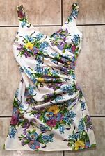 Vintage Besty Johnson Small  Floral Print V Neck Ruche Side Dress Made US