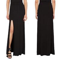 NEW Womens Plain Front Side Split Slit Cut Out Long Maxi Skirt