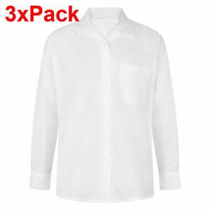 3x Ladies Girls Reverse Collar Blouse Top Office shirt School Uniform Sleeve