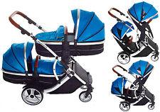 Kids Kargo Duellette Double Twin Pram Pushchair Tandem Buggy Newborn + raincover
