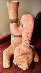 Stirup Jug Effigy Face ArtPottery Figural Vase Amphora PreColumbian Reproduction