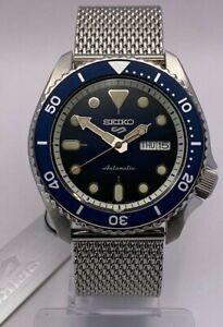 Seiko 5 Sports Men's Auto Blue Dial Steel Mesh Bracelet Watch SRPD71K1