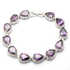 Purple Teardrop Cubic Zircon White Gold Plated Lady Chain Bracelet Jewelry