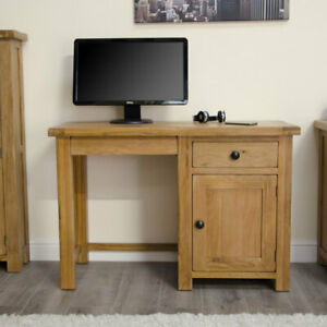 Rustic Solid Oak Furniture Small Office PC Home Computer Desk