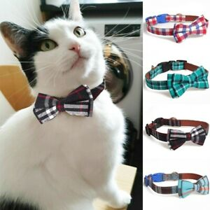 Dog Collar Or Leash Plaid BowKnot Bow Tie Adjustable Pet Puppy Cat Scarf Collar