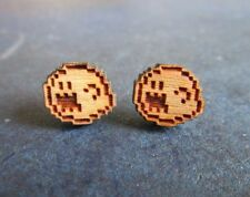 Super Mario Bros Inspired BOO Ghost Cherry Wood Stud Earrings SMB 3 Boo Diddlys