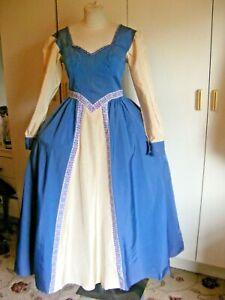 Vintage theatrical Tudor Medieval dress blue & cream taffeta modern size 12 UK