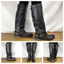 Aldo NEW Sexy Black Knee High Gold Equestrian Motorcycle Biker Boots SZ 7 37.5