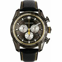 Versace Men's VDB020014 V-Ray Stainless Steel Gray Dial Leather Strap Watch