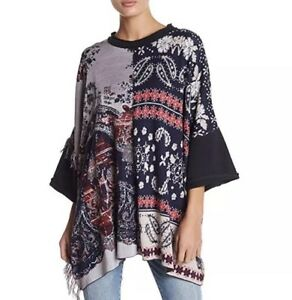 Free People Womens XS Red Black Jacket Floral Bell Sleeve Lace Up Cardigan NWT