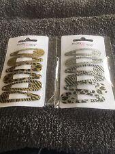 2 x pack 6 silver gold hair bendies metal 5cm sleepies snap clips animal print