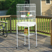 Metal Rolling Mid- Sized  Parrot Cockatiel Conure Bird Cage with Stand Used