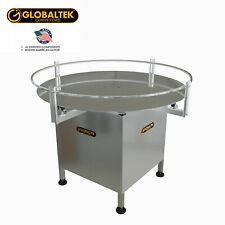 "Globaltek Stainless Steel 48"" Dia. Accumulating Rotary Turn Table Fully Enclosed"