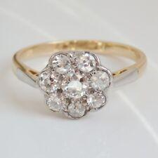 Stunning Antique Art Deco 18ct Gold Diamond (0.65ct) Daisy Cluster Ring c1925