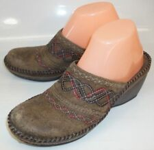 Clarks Artisian 72930 Womens US 8.5 M Distressed Leather Brown Wedge Clog Shoes