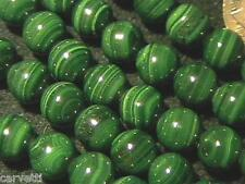 8mm Natural Malachite Round Beads A Grade (10 Beads) TEN BEADS