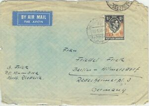 Northern Rhodesia 1952 KGVI 1s cover missed by cancel (above) with German cancel