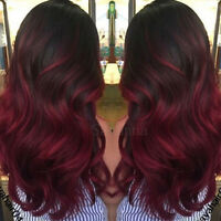 Natural Ombre Color Burgundy Wavy Full Lace Front Brazilian Remy Human Hair Wigs