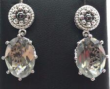 Antique Style Sterling Silver Oval Gray - Green Beryl Drop Dangle Post Earrings