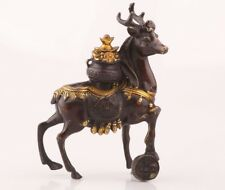 CHINA RARE COPPER GILT UNIQUE HAND-CARVED DEER STATUE WEALTH OLD COLLECTION