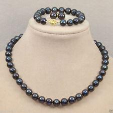 Pearl Necklace Bracelet Earrings Aaa Women's 8mm Natural Black shell
